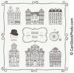 Vector Vintage Old Styled Houses