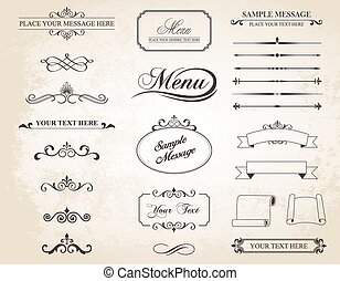 This image is a vector set that contains calligraphic elements, borders, page dividers, page decoration and ornaments.