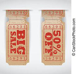 Vector vintage paper sale ticket