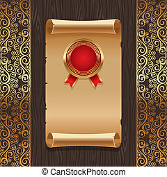 Vector vintage paper scroll with golden seal on a black wood texture backround with ornate gold patterns