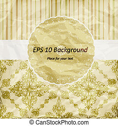 vector vintage pattern, golden napkin on floral and striped background, crumpled paper texture
