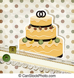 vector vintage pattern with wedding cake and retro background