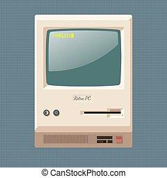 Retro computer cabinet vector illustration
