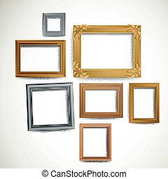 Vector Illustration of Decorative Vintage Picture Frames