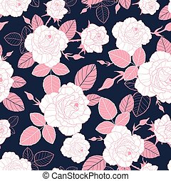 Vector vintage pink and white roses and leaves on dark, navy background seamless repeat pattern. Great for retro fabric, wallpaper, scrapbooking projects.