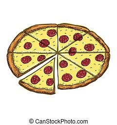 Vector vintage pizza drawing. Hand drawn color fast food illustration.