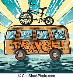 Vector vintage pop art illustration of travel bus and bike