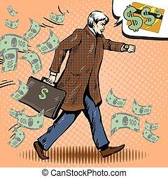 Vector vintage pop art illustration of walking businessman with briefcase