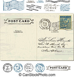 Vector Vintage Postcard Set