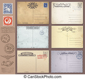 Vector Vintage Postcards and Stamps