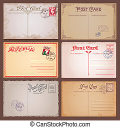Set of vector vintage postcards with stamps