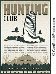 Vector vintage poster for duck hunting club