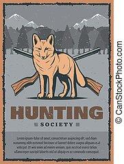 Vector vintage poster for fox hunt