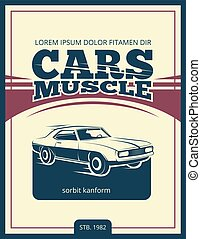 Vector vintage poster with retro car 70s