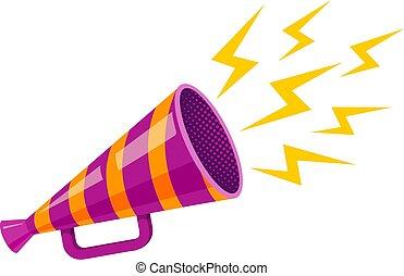 ultraviolet retro megaphone. - Vector vintage poster with...