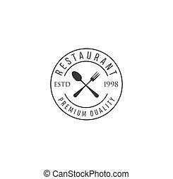 Vector vintage Restaurant logo. Hipster natural Restaurant label, sign. Bistro icon. Street eatery emblem
