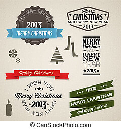 Vector Vintage retro christmas elements