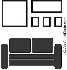 Vector vintage retro interior with sofa and frames for pictures on the wall in flat design