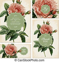 Vector Vintage Rose Wedding Invitation Set