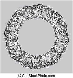Vector vintage round frame from floral pattern on grey backgroun