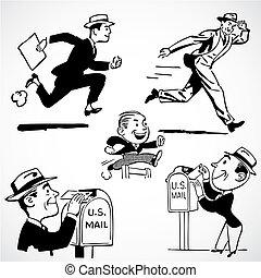 Vector Vintage Running Businessmen
