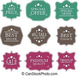 Vector vintage sale label set design elements
