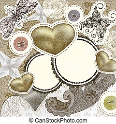vector vintage scrap template design with hearts, for valentine's day, clipping mask, elements can be used separately