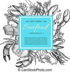 Vector vintage seafood restaurant illustration. Hand drawn...