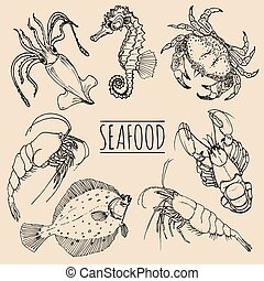 Vector vintage seafood sketches collection. Hand drawn fish illustrations for restaurant, cafe menu, market ad.