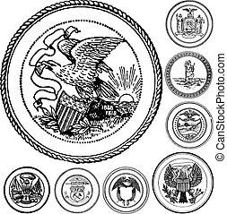 Vector Vintage Seals Set - Set of vector seals and emblems.