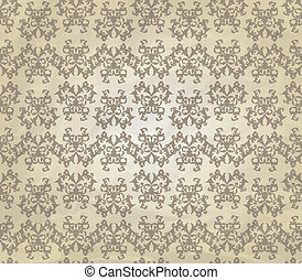 Vector Vintage Seamless Pattern on Crumpled Paper Texture -...