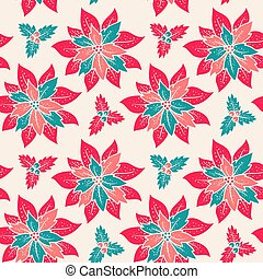 Christmas patttern with red flowers - Vector vintage ...