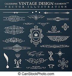 Vector vintage set. Calligraphic elements and page decoration pr