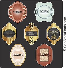 Vector vintage set. Gold frames dec