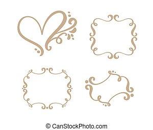 Vector vintage set of border frames engraving with retro ornament in antique rococo style decorative design