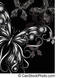 vector vintage silver butterflies with floral ornament on black