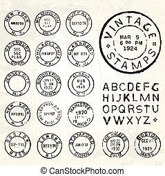 Vector Vintage Stamp Set
