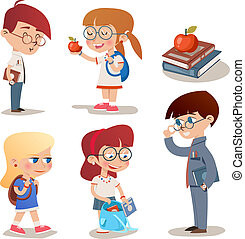 Vector Vintage Style Characters School Children Set Isolated White Background