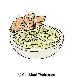 Vector vintage style Illustration of hummus with