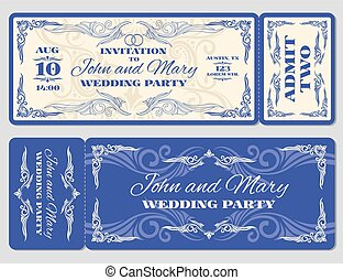 Vector vintage ticket wedding invitation