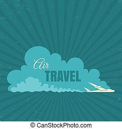 vintage travel logo with plane
