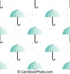 Vector vintage umbrellas seamless pattern. Cute blue umbrella background