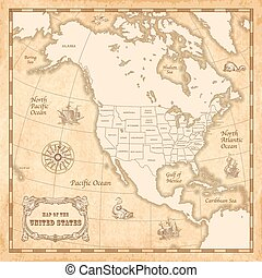 Vector Vintage US map