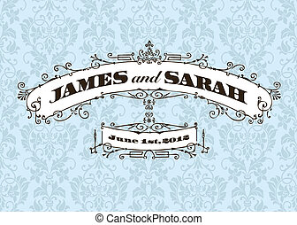 Vector Vintage Wedding Frame and Background