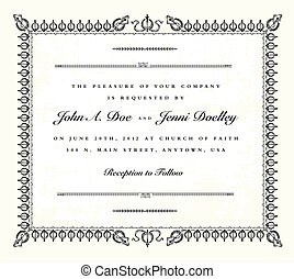 Vector Vintage Wedding Invitation Frame. Easy to edit. ...