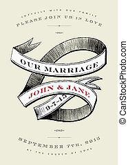 Vector Vintage Wedding Invite with Banner
