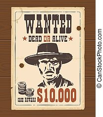 Vector Vintage western retro Wanted Poster