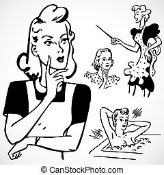 Vector Vintage Women Talking