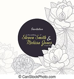 Vector Vintage Yellow Black Frame Floral Drawing Wedding Invitation With Stylish Flowers and Text In Classic Retro Design.