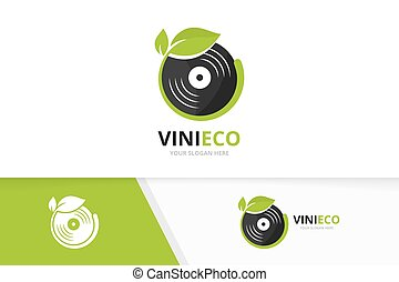 Vector vinyl and leaf logo combination. Record and eco symbol or icon. Unique music album and organic logotype design template.